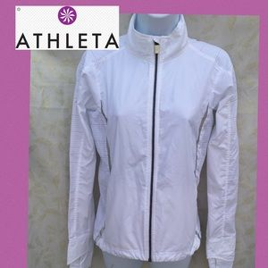 (Athleta) sz XXS zip-up jacket polyester white